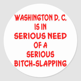 Washington DC Needs Seriously Bitch-Slapped Classic Round Sticker