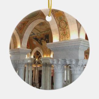 Washington DC Ornement de la Biblioteca del Adorno Navideño Redondo De Cerámica