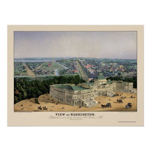 Washington, DC Panoramic Map - 1852 Posters