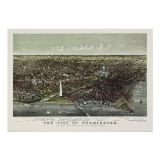 Washington, DC Panoramic Map - 1892 Poster