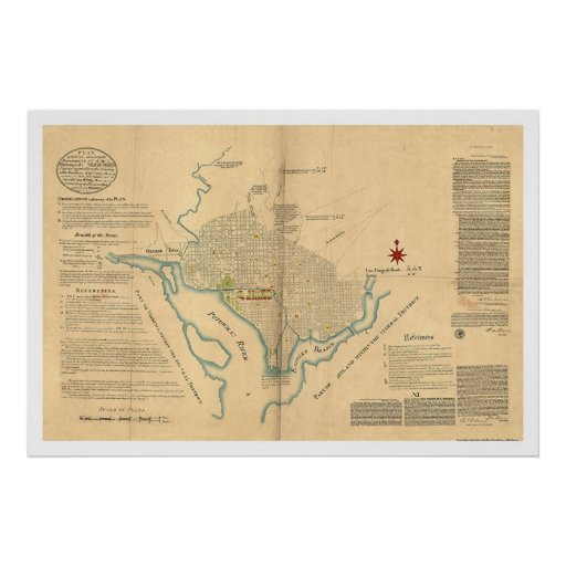 Washington Dc Plan Map By L 39 Enfant 1791 Poster Zazzle