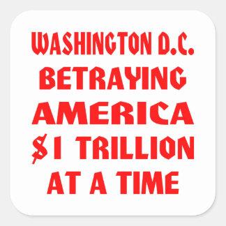 Washington DC que traiciona América 1 trillón en Colcomanias Cuadradass