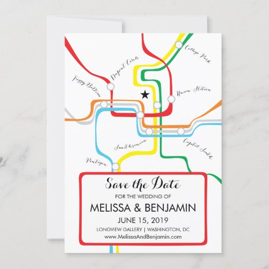 Washington DC Save the Date Metro Map | Zazzle.com