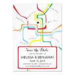 Washington DC Save the Date Metro Map 5x7 Paper Invitation Card