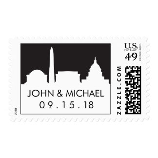 Washington DC Save the Date Stamp - Skyline Night