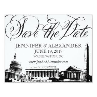 Washington DC Save the Date - Vintage Monuments 1 Announcement Card