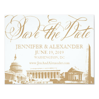 "Washington DC save the date - Vintage Monuments 3 4.25"" X 5.5"" Invitation Card"
