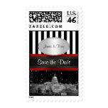 Washington DC Skyline Blk Wht Stripe P Save Date Stamp