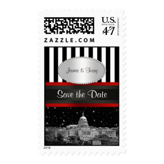 Washington DC Skyline Blk Wht Stripe P Save Date Postage Stamp