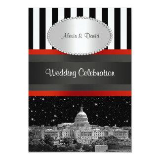 Washington DC Skyline Blk Wht Strp P Wedding Card