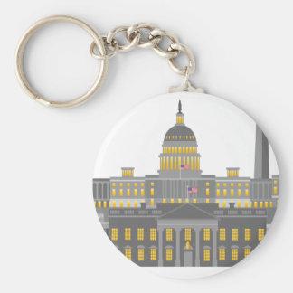 Washington DC Skyline Collage Illustration Keychain