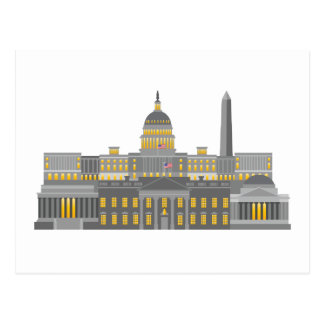 Washington DC Skyline Collage Illustration Postcard