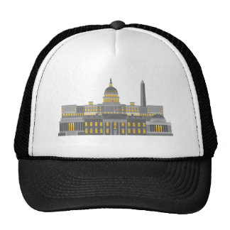 Washington DC Skyline Collage Illustration Trucker Hat