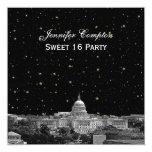 Washington DC Skyline Etch Starry DIY SQ Sweet 16 Invitation