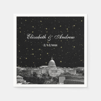 Washington DC Skyline Etched Starry Wedding Napkin
