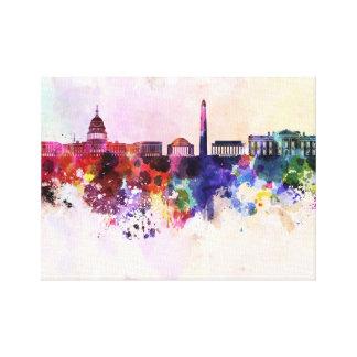Washington DC skyline in watercolor background Canvas Print