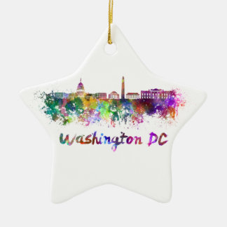 Washington DC skyline in watercolor Ceramic Ornament