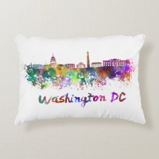 Washington DC skyline in watercolor Decorative Pillow