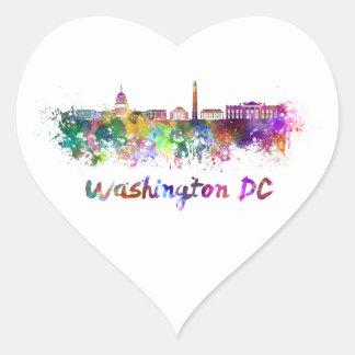 Washington DC skyline in watercolor Heart Sticker