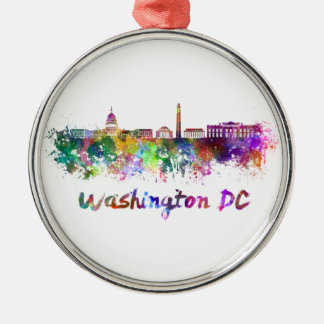 Washington DC skyline in watercolor Metal Ornament