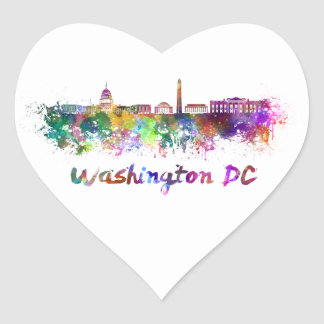 Washington DC skyline in watercolor Pegatina En Forma De Corazón