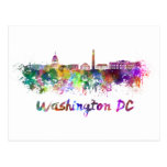 Washington DC skyline in watercolor Post Card