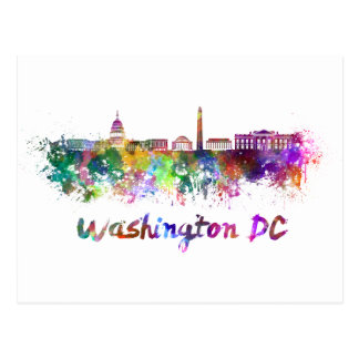 Washington DC skyline in watercolor Postcard