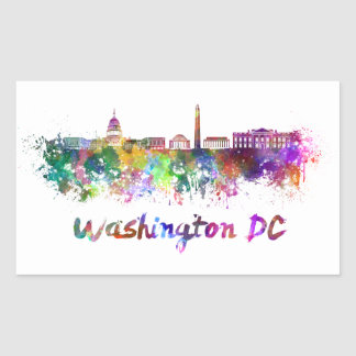 Washington DC skyline in watercolor Rectangular Sticker