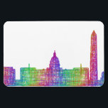 "Washington DC skyline Magnet<br><div class=""desc"">Washington DC city skyline silhouette - multicolor line art</div>"