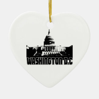 Washington DC Skyline Double-Sided Heart Ceramic Christmas Ornament