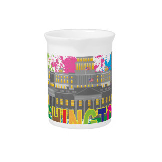 Washington DC Skyline Paint Splatter Illustration Drink Pitchers