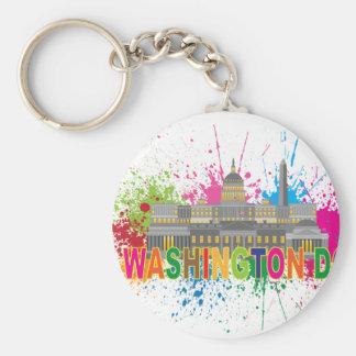 Washington DC Skyline Paint Splatter Illustration Keychain
