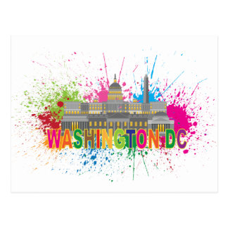 Washington DC Skyline Paint Splatter Illustration Postcard