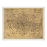 Washington DC & Suburbs Map by Gedney 1886 Poster
