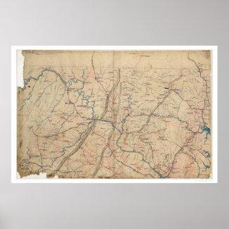 Washington DC Topographic Civil War 1861 Print