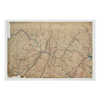 Washington DC Topographic Civil War 1861 Poster