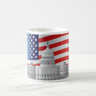 Washington DC US Capitol Building with US Flag Mug