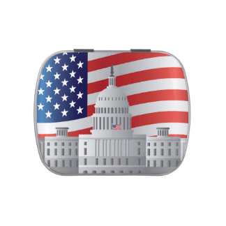 Washington DC US Capitol Building with US Flag Tin Jelly Belly Tin