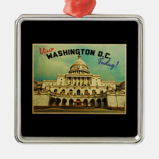 Washington DC Vintage Square Metal Christmas Ornament