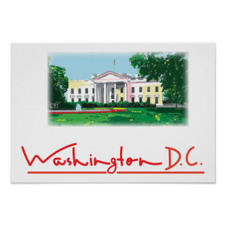 Washington DC - White House digital painting Poster