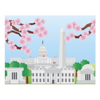 Washington DC with Cherry Blossoms Postcard