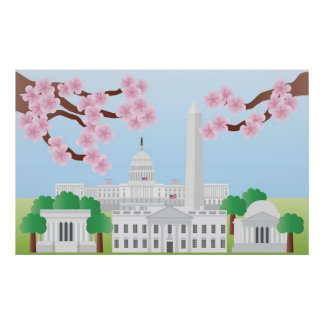 Washington DC with Cherry Blossoms Poster