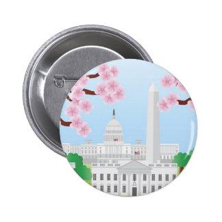 Washington DC y botón de las flores de cerezo Pin Redondo De 2 Pulgadas