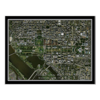 Washington DC's National Mall From Space Satellite Poster