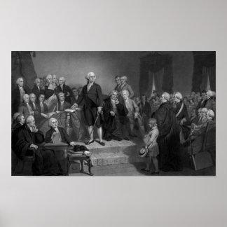 Washington Delivering His Inaugural Address Poster