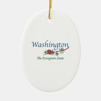 Washington el estado imperecedero adorno navideño ovalado de cerámica