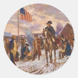 Washington en la fragua del valle de Edward P. Pegatina Redonda