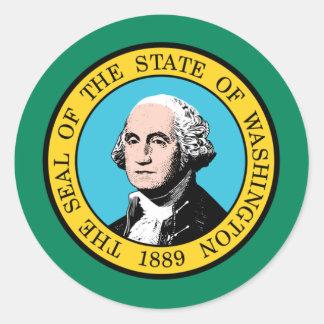 Washington Flag Classic Round Sticker