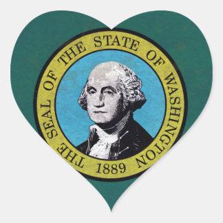 Washington Flag Heart Sticker