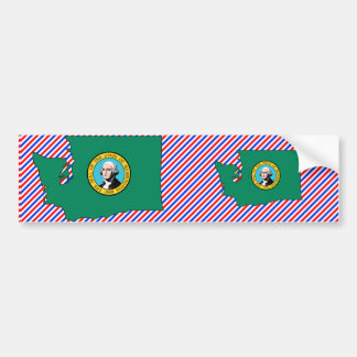 Washington Flag Map Bumper Sticker